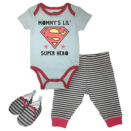 Infant Boys Superman Clothing Set - DC Comics Superman Short Sleeve Bodysuit, Pants and Shoes Set (Blue/Red, 6M-9M)