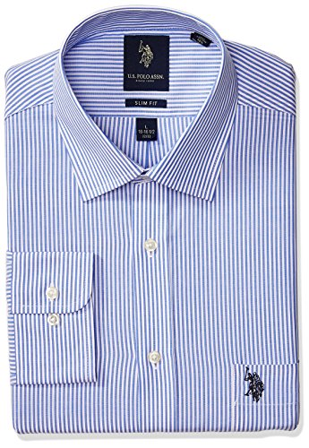 U.S. Polo Assn. Men's Slim Fit Striped Semi Spread Collar Dress Shirt, Bengal Stripe Light Blue/White, 17