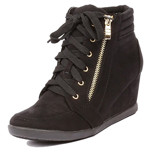 Women's Fashion Wedge Sneakers High Top Hidden Wedge Heel Platform Lace Up Shoes Ankle Bootie Black 10