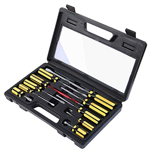 Bratsk Screwdriver Set Multi-function Magnetic 10 Piece Insulated Phillips and Slotted Anti-Shock Yellow Screwdrivers Hand Tool
