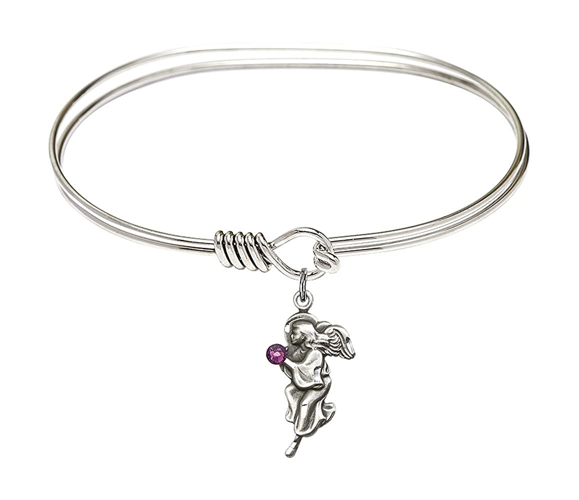 Guardian Angel Charm On A 7 Inch Oval Eye Hook Bangle Bracelet