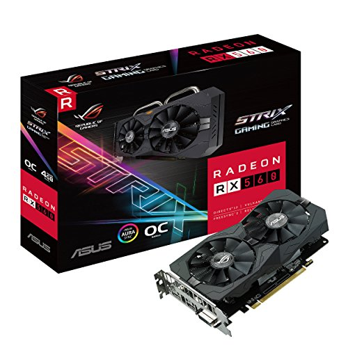 ASUS ROG Strix Radeon RX 560 O4GB Gaming OC Edition GDDR5 DP HDMI DVI AMD Graphics Card (ROG-) (STRIX-RX560-O4G-GAMING) -  ASUS Computer International, 0088934970339