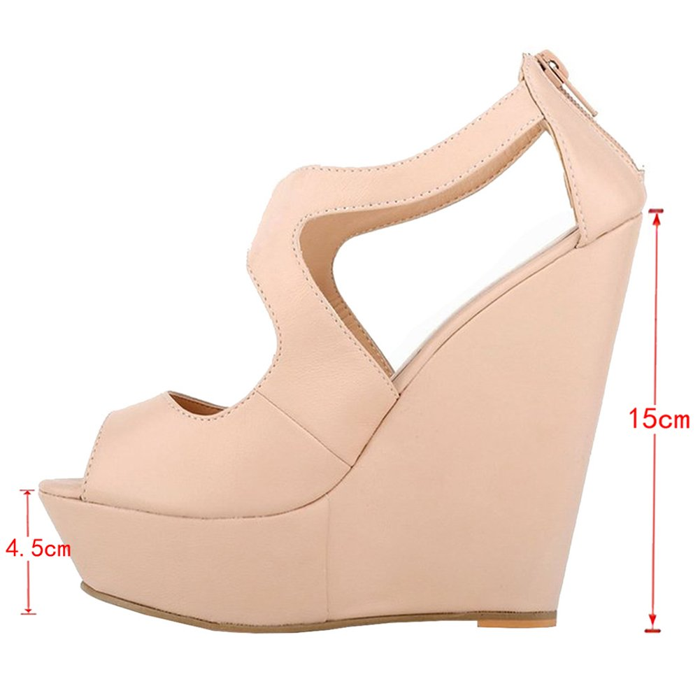 MERUMOTE Womens Wedges Heeled Sandals High Shoes Platforms Open Toe Zipper Shoes High B01CWM5JEA 11 M US|Matte Nude 60b852