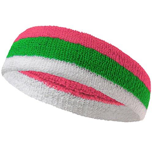 White Striped Sport Head Sweatband (1 piece) - Bright Pink/Bright Green/White (Striped Sweatband)