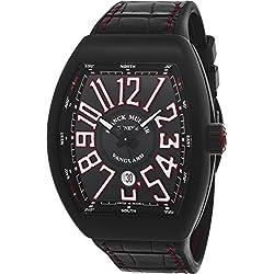 Franck Muller Vanguard Mens Black Face Automatic Date Black Rubber Strap Swiss Watch V 45 SC DT TT NR BR ER