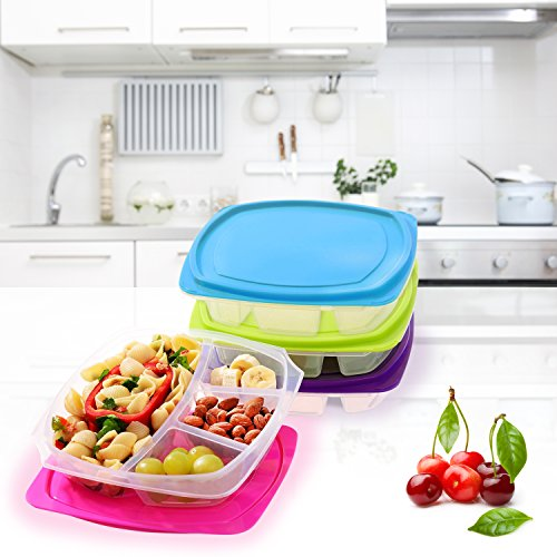 happy lunchboxes 4 compartment leak proof bento lunch box containers for adults set of 4. Black Bedroom Furniture Sets. Home Design Ideas