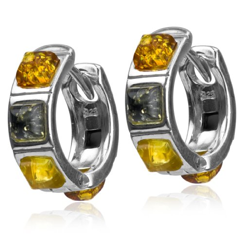 Sterling Silver Multicolor Amber Square Stone Classic Hoop Earrings