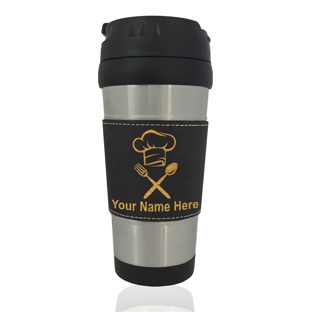 Travel Mug - Chef Hat - Personalized Engraving Included (Black)
