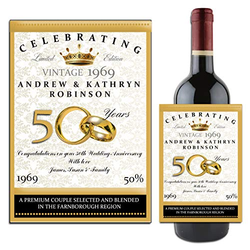 (Personalised WINE / CHAMPAGNE BOTTLE LABEL ~ Golden 50th Wedding Anniversary Gift Idea N14 by personalised party products)
