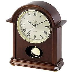 Woodford Unisex Pendulum Quartz Mantel Clock - Brown