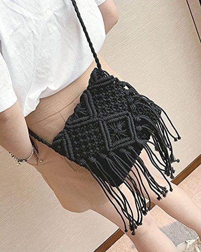 Tejer Bolsa Bolso Borla Negro Playa Messenger Estilo Bag Crossbody Bolso Paja De Negro Elegante Bandolera Mujer AHqwgwa