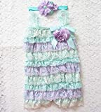 Lace Romper and Headband Set, Aqua and Lavender Baby One Piece, 1st Birthday Outfit, Cake Smash, USA