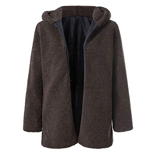 New Hooded Coats Cotton Winter Womens Outwear Warm Outwear Solid Color Hooded Pockets Oversize Coats,BW,M]()