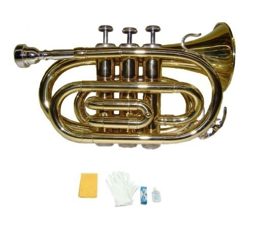 Merano B Flat Gold Brass Pocket Trumpet with Case+Mouth Piece;Valve oil;A Pair Of Gloves;Soft Cleaning Cloth by Merano