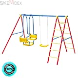 SKEMiDEX---A-Frame Kids Swing Set Fun Play Chair Ladder For 5 Children Backyard Outdoor. Suitable to set in the backyard, park, kindergarten, etc Available for 5 kids to play together
