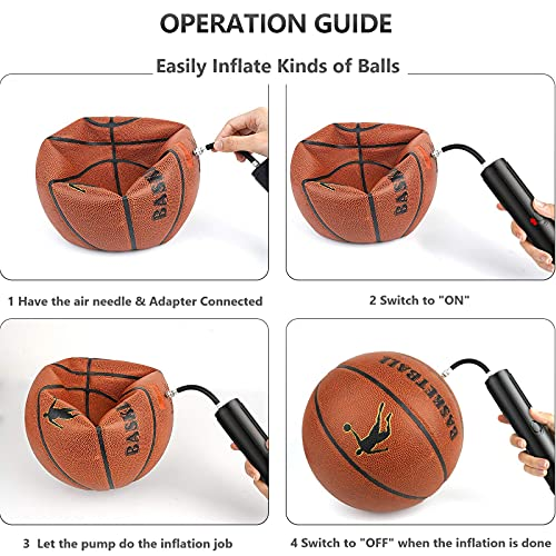 Electric Ball Pump,Smart Air Pump Portable Fast Ball Inflation for Football Basketball Volleyball Rugby