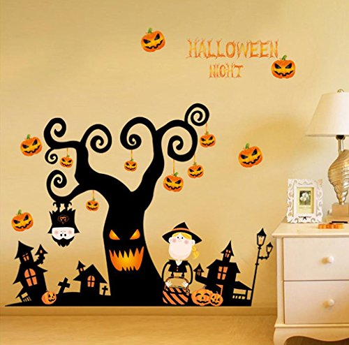 Happy Halloween Pumpkin Trick Or Treat Value Party Scene Wall Decorating Kit Bedroom Home Window Sticker Mural for Baby Kids Room (Design -
