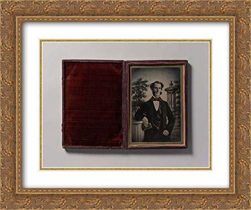 Photographic Art - 24x20 Gold Ornate Frame and Double Matted Museum Art Print - Man Holding Book, Standing Before a Painted Scenic Backdrop