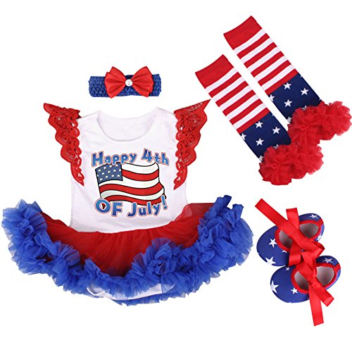 (4th of July Outfit Baby Girls American Flag Romper Stars Stripes Tutu Dress Shoes Leg Warmers Memorial Day Clothes 4pcs Set with Headband 0-3 Months)