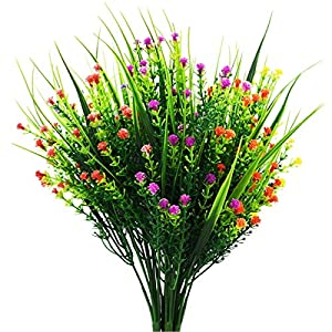Artificial Flower - Gypsophila Artificial Fake Silk Plants for Wedding Party Decoration DIY Home Garden(White, Yellow, Purple, Rose Red, Red, Orange Red) 22