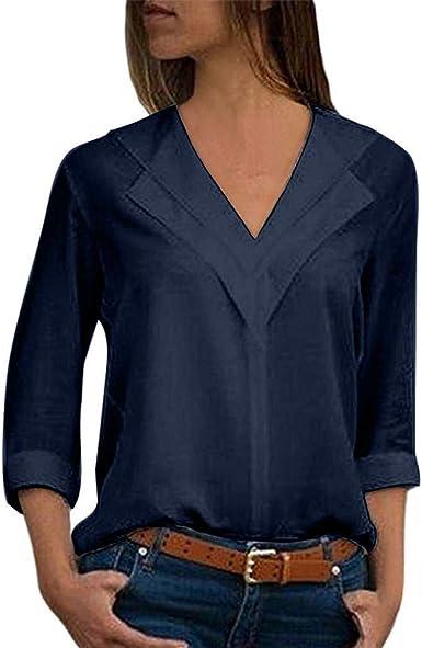 Camisas Mujer Elegantes Tallas Grandes, STRIR Camiseta de Gasa de Solapa Casual para Mujer Camisetas de Manga Larga de Blusa de Hebilla para niña Camisas De Vestir Mujer Verano Primavera Tops: Amazon.es: