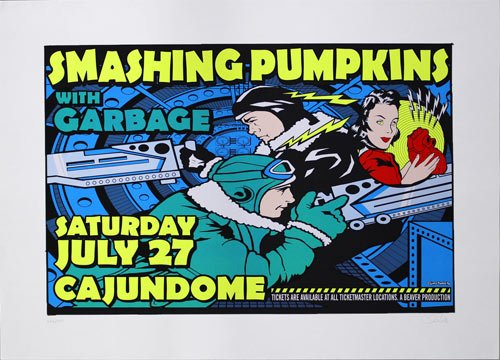 "Smashing Pumpkins with Garbage ~ Cajundome 1996 ~ 11""x17"" Advertising Poster by Uncle Charlie"