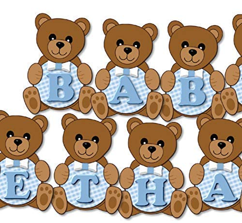 (Personalized Blue Teddy Bear Baby Shower or Birthday Party Decorations for Boy Banner with Optional Invitations, Sign, Favor Tags, Thank You Cards - Handmade in USA - BCPCustom)