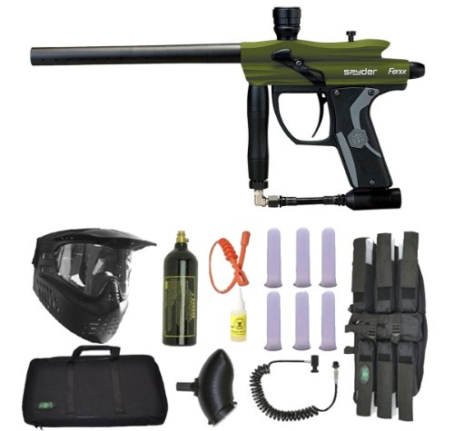 Spyder Fenix Electronic Paintball Marker Gun 3Skull Sniper Set - Olive Green