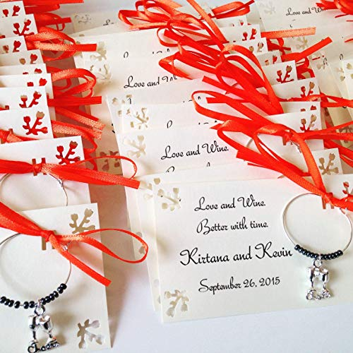 1 to 150 wine and vineyard themed wine charms for bridal shower favors rehearsal dinner favors and wedding favors for guests. 1 charm set. Fully customized. -