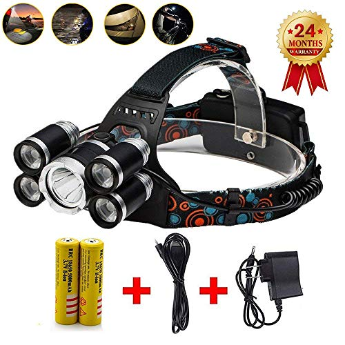 (Brightest Led Headlamp Flashlight,10000 Lumen Best Headlight,Waterproof Hard Hat Light,Powerful Head Lamp,18650 Rechargeable Batteries, Wall Charger and USB Cable,For Camping Outdoor)