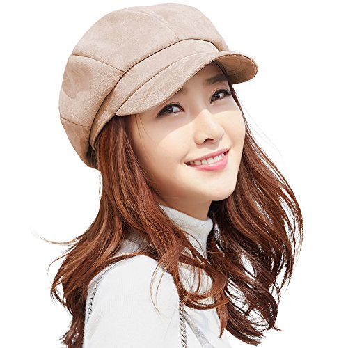 Ladies Fashion Newsboy Caps (Womens Newsboy Cap Winter Faux Suede Berets Visor Cloche Painter Hat Camel for Lady Soft Lined SIGGI)