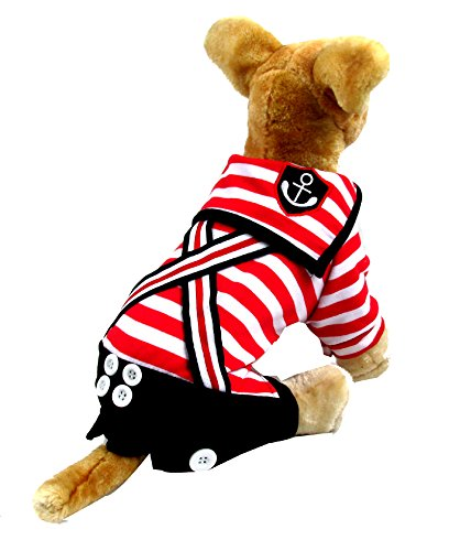 Yoption Pet Sailor Red and White Stripes Straps Jumpsuit Spring Summer Early Autumn Soft Pet Clothes for Male Pet Cat Puppy-Size (11 More Days Until Halloween)
