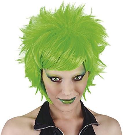 Funny Costumes - Peluca Crazy, adulto, color neón verde, talla ...