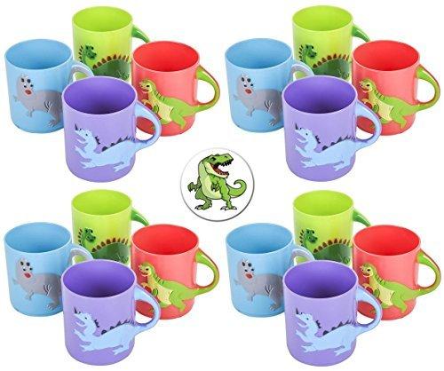 24 Dinosaur Dino Mugs Plus a Bonus Dinosaur Button -