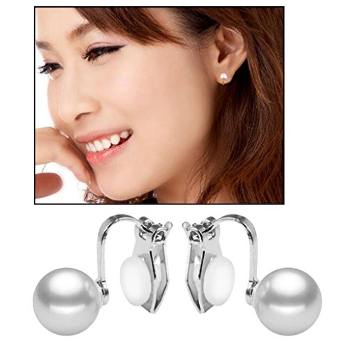 Silver Plated Simulated Pearl Clip on Earrings Back U Clips with 4 Pads for Women Girls Valentines Gifts