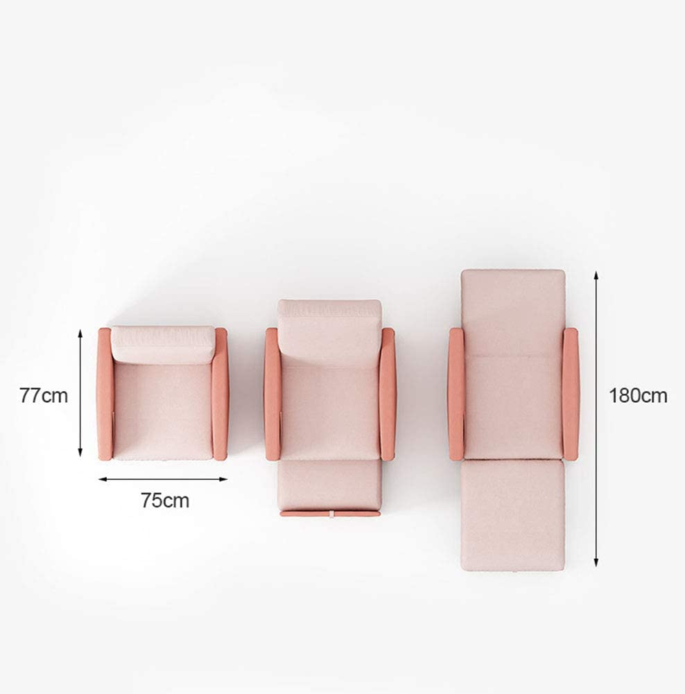 2-in-1 Sofa Bed Chair Sofa, Single Folding Futon Chair Sofa Bed Chair Guest Sleeper Chair Bed with Pillow Wheels for Home Bedroom Living Room Pull Out Drawer Sofa,Blue Pink