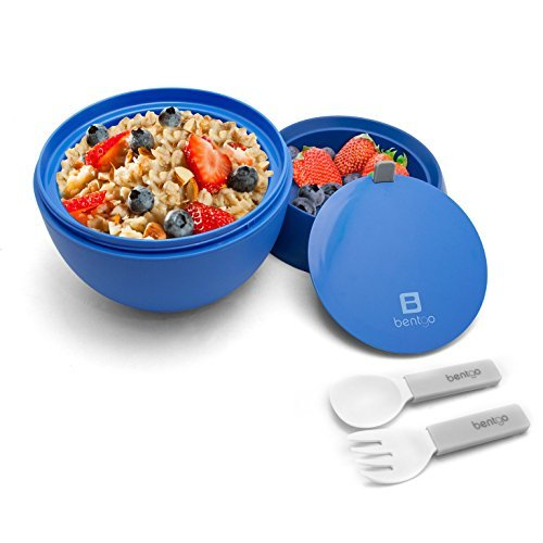 Bentgo Bowl (Blue) - Insulated, BPA-Free Lunch Container with Collapsible Utensils Set - Leakproof Bowl Holds Soups, Stews, Noodles, Hot Cereals & More On-the-Go