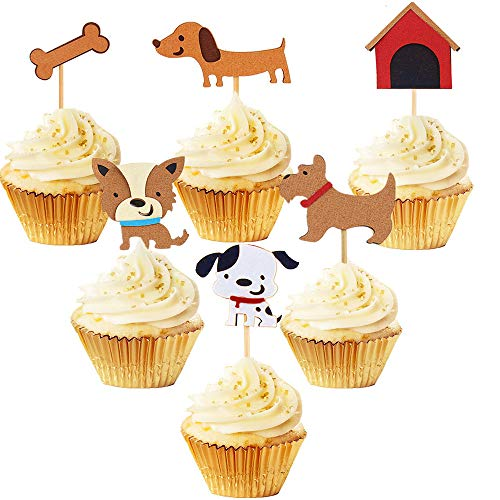 Set of 24 Puppy Cupcake Toppers Dog Adoption Pet Birthday Party Cake Decoration Supplies from LaVenty