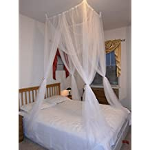 Octorose ® White 4 Poster Bed Canopy Functional Mosquito Insect Netting with Canopy Pole Can Fit Crib, Twin, Twin/full Bunk Bed, Full, Queen, King and Cal King Bed (Suaretop / Crib)