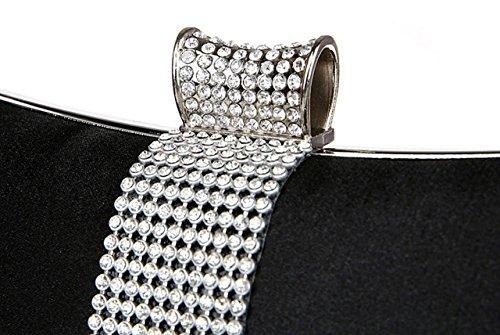 Noir Main à Gamme de Sac Sac Rectangle de Diamanté de Haut AnKoee Femme Chic à Main Main Pochette à Rétro Pochette Simple Soirée W0U7B7HwCq