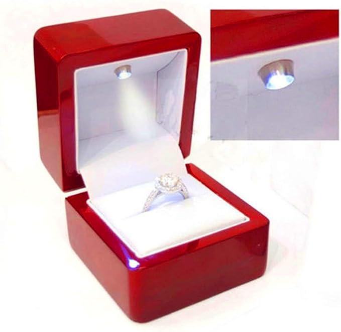 Lighted stud drop hoop earrings keepsake gift Box illuminated Presentation gift box Fancy Black italian leather LED