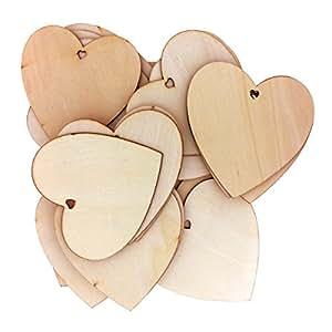 50 Decoraciones Madera Forma Corazón por Kurtzy - Etiquetas Placas Manualidades 10 x 10cm Aptas para Recepción de Bodas, Centros de Mesa, Eventos - Recortes Madera Natural Sin Tratar Forma de Corazón