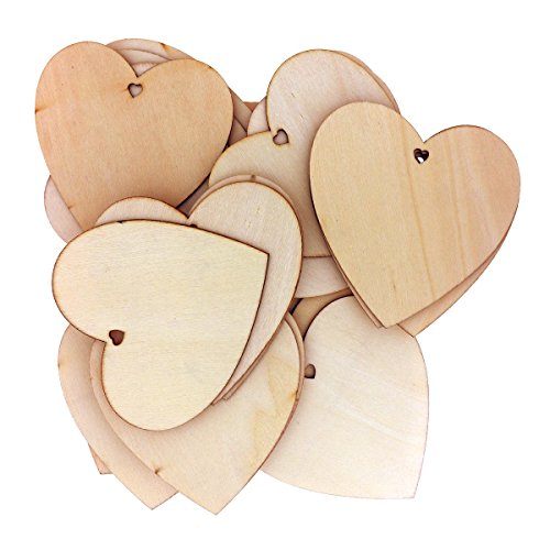50 Decorative Wooden Heart Shape by Kurtzy - 10 x 10cm Craft Tags Plaques Suitable for Wedding Reception, Centerpieces, Table Decorations, and Events - Natural Unfinished Wood Heart Shaped Cutout