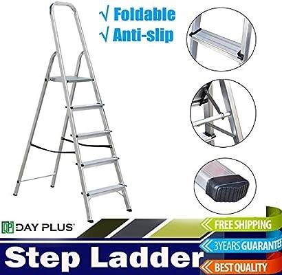 Escalera de plataforma   Aluminio 5 Comercio con pasamanos de seguridad, garaje doméstico: Amazon.es: Bricolaje y herramientas
