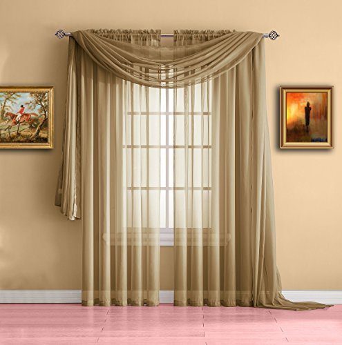 Warm Home Designs Extra Long Caramel Gold Sheer Window Scarf. Valance Scarves are 56 X 216 Inches In Size. Great As Window Treatments, Bed Canopy Or For Decorative Project. Color: - Buffs What Are Glasses
