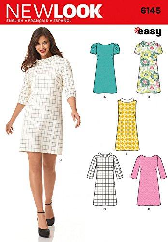 New Look Ladies Easy Sewing Pattern 6145 Knee Length Shift Dresses