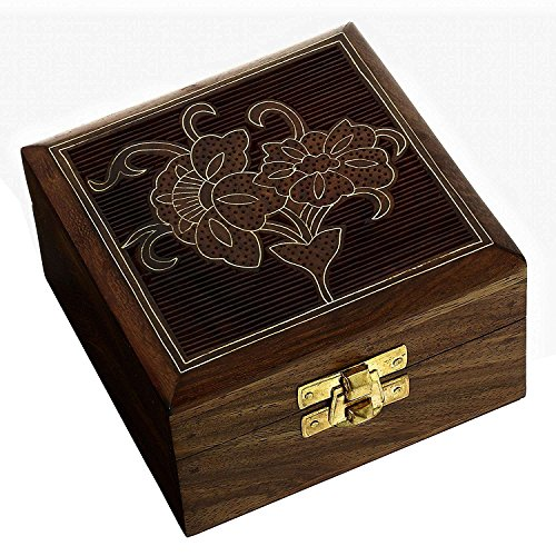 Hashcart Brass Inlay Work Sheesham Wood Jewellery Box, Brown