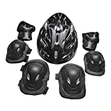 D DOLITY Adults Roller Skating Helmet Knee Elbow Hand Protection Pad Set Safety Guard Equipment Set for Longboarding Snowboarding - Black, 26x20x13cm