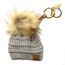CC Miniature Solid Beanie Cap Hat Fur Pom Pom Handbags Bag Key Ring Chain
