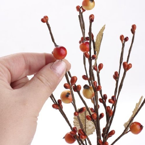 Package of 6- Autumn Mixed Berry and Leaf Picks